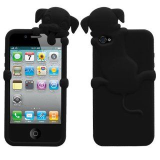 Soft Skin Case Fits Apple iPhone 4 4S Black Dog Peeking Pets Skin AT&T, Verizon (does NOT fit Apple iPhone or iPhone 3G/3GS or iPhone 5/5S/5C) Cell Phones & Accessories