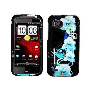 Hard Plastic Snap on Cover Fits HTC 6425 Vigor, ThunderBolt 2 2D Four Blue Flowers Glossy Verizon (does not fit ThunderBolt I) Cell Phones & Accessories