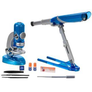 Edu Science Quick Switch Microscope and Portable Folding Telescope   Blue