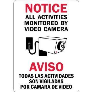 "SmartSign 3M Engineer Grade Reflective Sign, Legend ""Notice All Activities Monitored By Video Camera"", Bilingual Sign with Graphic, 10"" high x 7"" wide, Black/Red on White Industrial Warning Signs"