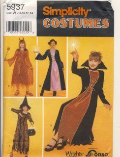 Simplicity Sewing Pattern   5937   Use to Make   Girl's Costumes Witches, Devil   Sizes 7, 8, 10, 12, 14