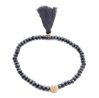 4 Pieces of Ladies Navy with Gold Heart Charm with Tassel and Eliptical Glass Beaded Stretch Bracelet Jewelry