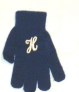 One Size Dark Navy Color Magic Gloves Trimmed with Customer Chosen Ivory Monogram Letter for Infants Ages 0 4 Years Clothing