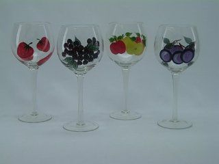 Fabulous Antique English Wine Glass 4 Pc Set Hand Painted Glasses set of 4 Kitchen & Dining