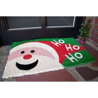 Happy Santa 18 x 30 Hand Woven Coir Doormat   Outdoor Doormats