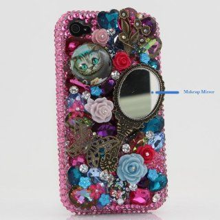 3D Swarovski Pink Crystal Bling Case Cover for iphone 4 / 4s AT&T Verizon & Sprint with makeup mirror Cell Phones & Accessories