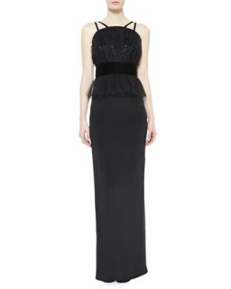 Womens Crepe & Tulle Peplum Column Gown   Notte by Marchesa   Black (8)