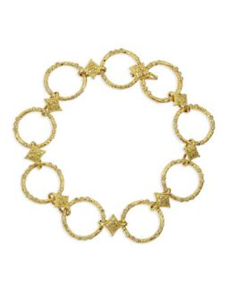 18k Yellow Gold Circle Link & Diamond Bracelet   Armenta   Gold (18k )