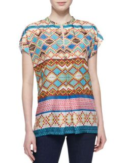 Womens Mixed Print Silk Short Sleeve Blouse   Johnny Was Collection   Multi a