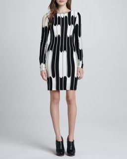 Womens Tabitha Long Sleeve Wave Dress   Alice + Olivia   Black/White (SMALL)