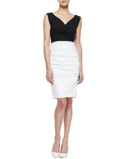 Womens Stretch Linen Colorblock Sleeveless Dress   Nicole Miller   Black/White