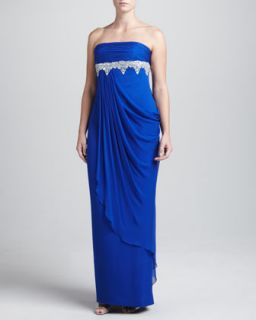 Womens Strapless Chiffon Beaded Gown, Cobalt   Notte by Marchesa   Cobalt (10)