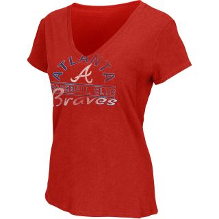 G III Womens Atlanta Braves Football Logo Slub V Neck Short Sleeve T Shirt