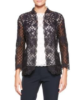 Womens Silk Lace Long Sleeve Jacket, Black   Escada   Black (38)