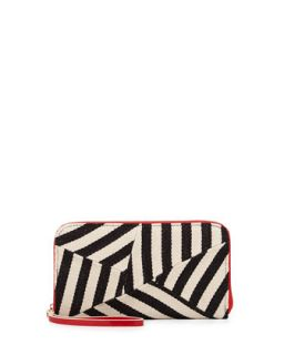 Striped Canvas Zip Wallet, Black/Red   POVERTY FLATS by rian