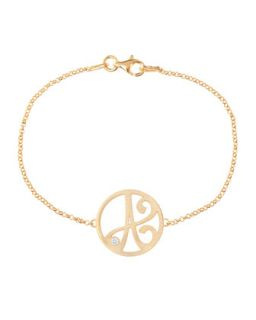 Mini Single Initial Diamond Bracelet, Yellow Gold   K Kane   I