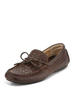 Mens West Woven Leather Driver, Dark Brown   Frye   Dark brown (13.0D)