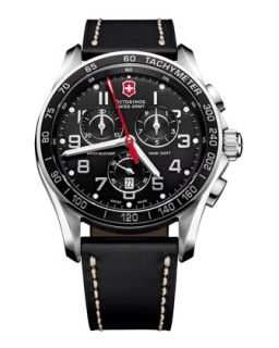 Mens Classic Chronograph Leather Watch, Black   Victorinox Swiss Army   Black