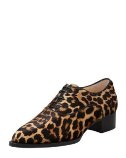 Zazou Pointed Toe Leopard Print Calf Hair Derby Flat   Christian Louboutin