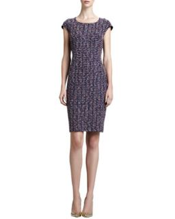 Womens Tweed Scoop Neck Sheath Dress, Marine/Multi   St. John Collection