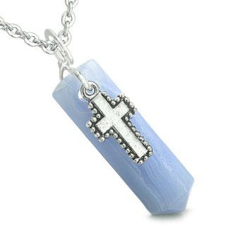 "Amulet Crystal Point Wand Holy Cross Charm Blue Lace Agate Gemstone Spiritual and Positive Energy Pendant on 18"" Steel Necklace Best Amulets Jewelry"
