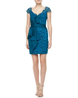 Womens Lace Cap Sleeve Cocktail Dress   Notte by Marchesa   Teal (10)