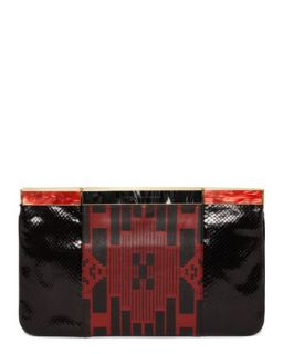 Patchwork Hexagon Frame Clutch Bag, Black/Red   Alexander McQueen