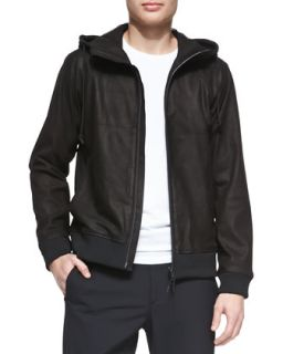 Mens Lamb Leather Hooded Zip Jacket, Black   Theory   Black (MEDIUM)