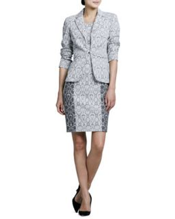 Womens Snake Print Jacket & Dress Set   Kay Unger New York   Gray multi (14)