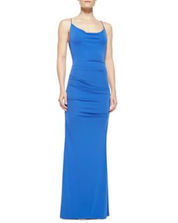 Womens Spaghetti Strap Ruched Gown, Classic Blue   Nicole Miller   Classic