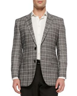 Mens James Regular Fit Plaid Sport Coat, Black   Boss Hugo Boss   Black (44L)