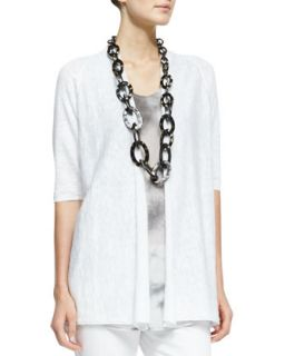 Womens Half Sleeve Open Front Cardigan, Petite   Eileen Fisher   White (PS