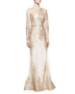 Womens Long Sleeve Lace Illusion Mermaid Gown, Gold   Notte by Marchesa   Gold