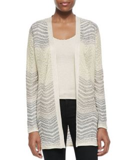 Womens Open Front Ripple Knit Cardigan   M. Missoni   Ivory (48)
