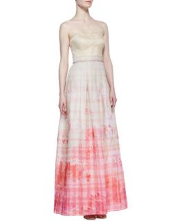 Womens Strapless Floral Print Skirt Ball Gown, Ivory/ Pink   Kay Unger New