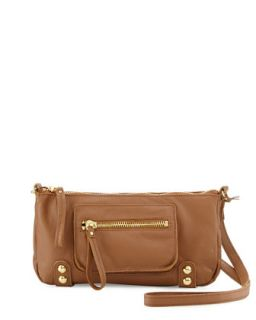 Dylan Zip Leather Crossbody Bag, Coffee Bean   Linea Pelle