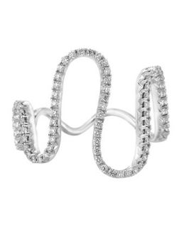 18k White Gold Diamond Wave Ring   A Link   White (6.5)