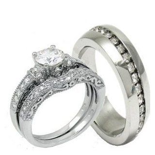 His & Hers 3 Pieces, 925 Sterling Silver & Stainless Steel Engagement Wedding Ring Set, AVAILABLE SIZES men's 7,8,9,10,11,12; women's set 5,6,7,8,9,10. CONTACT US BY EMAIL THROUGH  WITH SIZES AFTER PURCHASE Jewelry