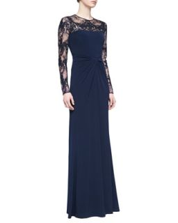 Womens Long Sleeve Lace Sequin Gown, Navy   David Meister   Navy (2)