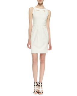 Womens Cutout Pleated Ponte Dress, Ivory   Amanda Uprichard   Ivory (MEDIUM)