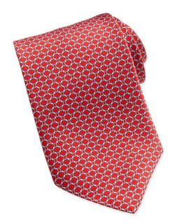 Mens Wide Oval Link Pattern Tie, Red   Brioni   Red