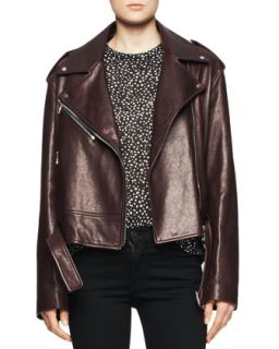 Womens Shiny Leather Moto Jacket   Proenza Schouler   Aubrgine (8)