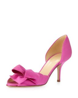 sala satin dorsay bow pump, fuchsia   kate spade new york   Fuchsia (39.0B/9.