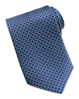 Mens Wide Oval Link Pattern Tie, Navy   Brioni   Navy