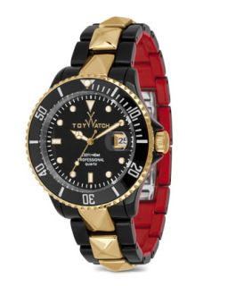ToyMrHyde Studded Two Tone Plasteramic Watch, Black/Red   Toy Watch   Black/Gold