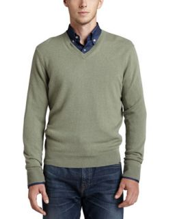 Mens V Neck Cashmere Pullover Sweater, Green   Green (XX LARGE)