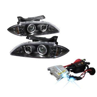 High Performance Xenon HID Chevy Cavalier Halo LED ( Replaceable LEDs ) Projector Headlights with Premium Ballast   Black with 10000K Deep Blue HID Automotive