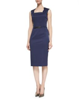 Womens Sleeveless Belted Sheath Dress, Navy   David Meister   Navy (4)