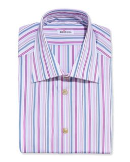 Mens Multi Stripe Dress Shirt, Pink/Blue   Kiton   Pink (15 1/2)