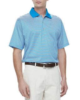 Mens Classic Striped Knit Polo, Blue/White   Peter Millar   Blue/White (X
